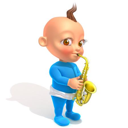 mamma: Baby Jake playing saxophone 3d illustration