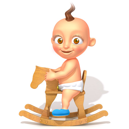 rocking: Baby Jake on rocking horse 3d illustration Stock Photo