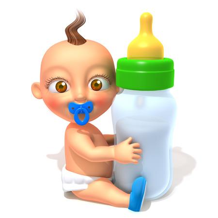 mamma: Baby Jake with baby bottle 3d illustration Stock Photo