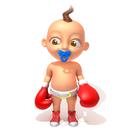 boxing gloves: Baby Jake with red boxing gloves