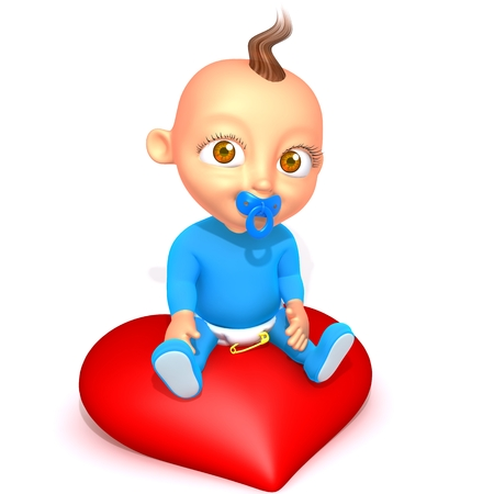 motherly: Baby Jake with Valentines heart Stock Photo