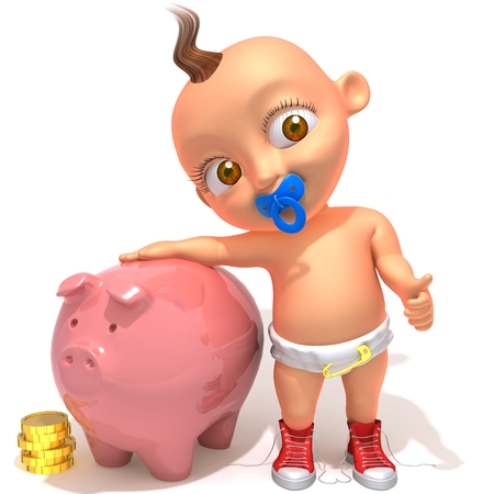 emptying: Baby Jake with piggy bank and coins