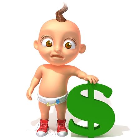 dolar: Beb� Jake con dolar Foto de archivo