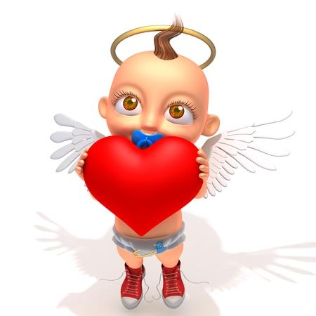 gloriole: Baby Jake angel with heart