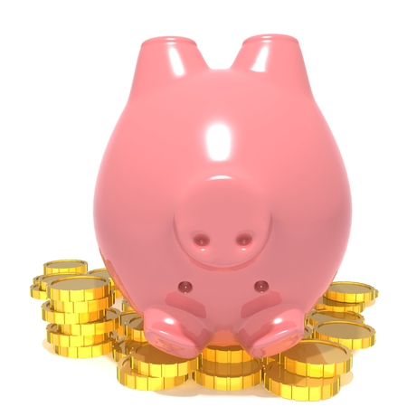 bringing home the bacon: Piggy bank and coins Stock Photo