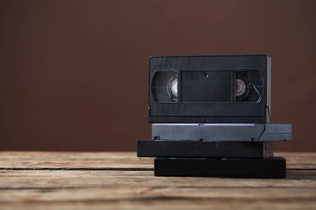 videotape on old wooden table