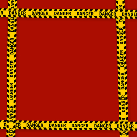 Yellow with black police line and danger tapes  On a red background Vector illustration Standard-Bild - 108814401