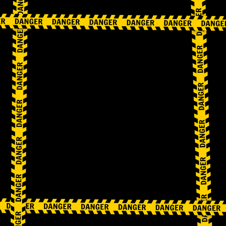 Yellow with black police line and danger tapes  On a black background Vector illustration Ilustrace
