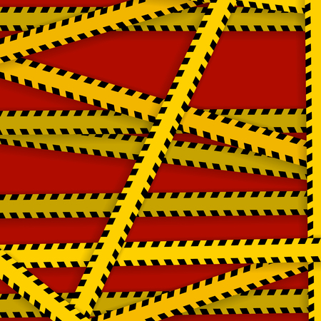 Yellow with black police line and danger tapes  On a red background Vector illustration