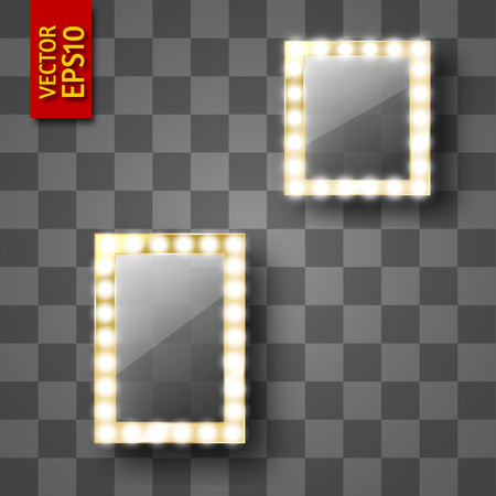 Mirror for make-up or a photo frame, isolated with gold. Vector illustration of square and rectangular frames