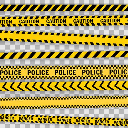 Linea di polizia impostata su uno sfondo bianco Illustrazione vettoriale