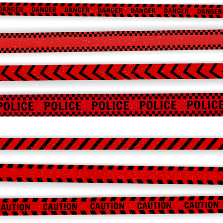 Vector illustration.Red police line Warning tape, danger tape, caution tape.