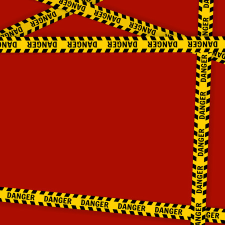 Yellow with black police line and danger tapes  On a red background Vector illustration Standard-Bild - 108814527
