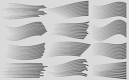 Speed lines isolated set.Black lines on grey background.