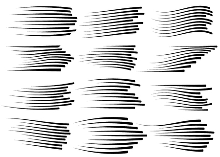 Speed lines isolated set. Motion effect for your design. Black lines on white background. Vector illustration
