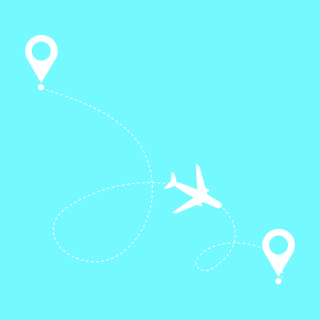 Airplane travel concept ,route dash line on white background. Illustration