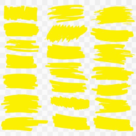 Yellow Highlighter Marker Strokes. Vector brush pen underline lines. Yellow hand drawn highlight set Vector illustration.