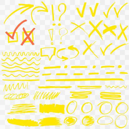 Yellow Highlighter Marker Strokes. Vector brush pen underline lines. Yellow  hand drawn highlight set Vector illustration .