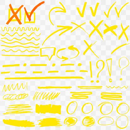Yellow Highlighter Marker Strokes. Vector brush pen underline lines. Yellow  hand drawn highlight set Vector illustration
