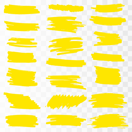 Yellow Highlighter Marker Strokes. Vector brush pen underline lines. Yellow hand drawn highlight set Vector illustration.