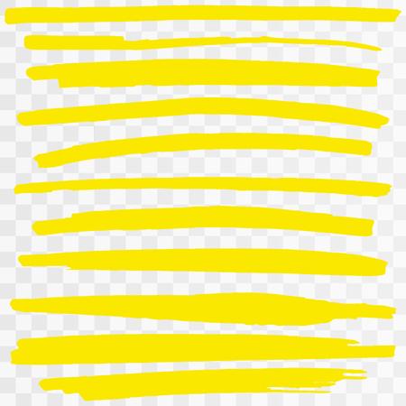 Trazos de marcador de resaltador amarillo. Líneas de subrayado de pluma de pincel de vector. Ilustración de vector de conjunto de resaltado dibujado a mano amarillo