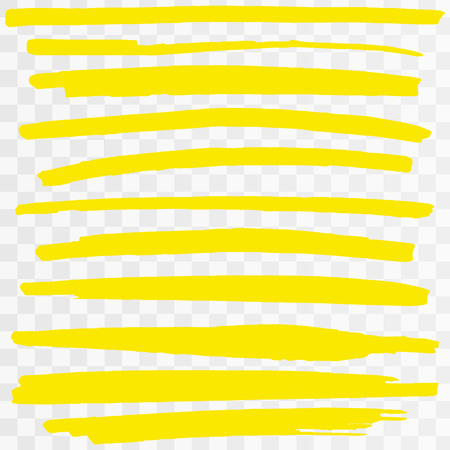 Yellow Highlighter Marker Strokes. Vector brush pen underline lines. Yellow  hand drawn highlight set Vector illustration