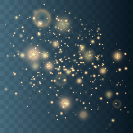 Glow light effect. Gold sparkle dust. Vector illustration. Christmas flash Concept.  イラスト・ベクター素材
