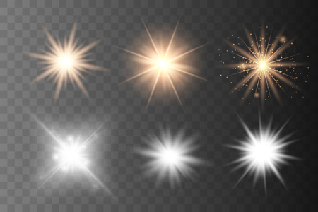 Set of Glowing Light Stars with Sparkles. Golden Light effect. Vector Illustration - Vector - Vector