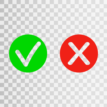 True or false? Set of trendy flat check mark and cross icons. Vector illustration isolated on transparent   background. - Vector Eps10