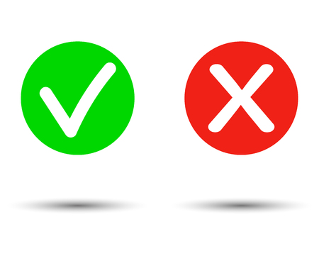 Vero o falso Set di icone incrociate e segno di spunta piatto alla moda. Illustrazione vettoriale isolato su sfondo trasparente. - Vettore Vettoriali
