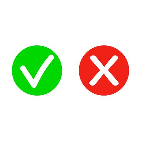 Verdadero o falso Conjunto de iconos cruzados y marca de verificación plana de moda. Ilustración de vector aislado sobre fondo transparente. - Vector