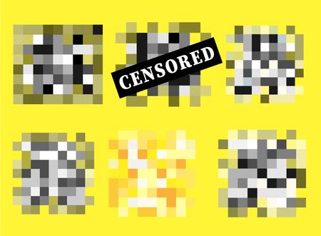 Set of Pixel censored signs. Black censor bar concept. Vector illustration
