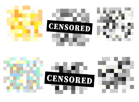 Set of Pixel censored signs. Black censor bar concept. Vector illustration