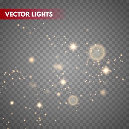 Glow light effect. Gold sparkle dust. Vector illustration. Christmas flash Concept