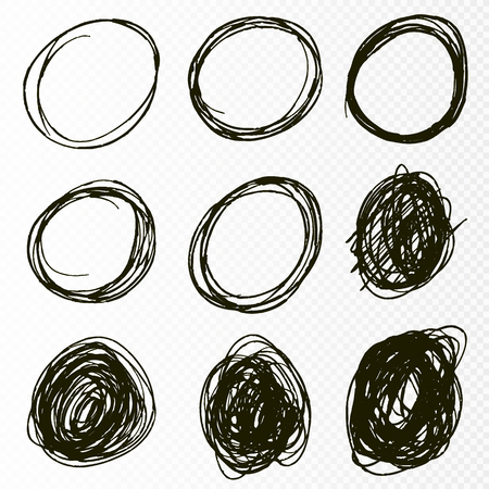 Doodle sketched circles. Hand drawn scribble rings isolated vector set. Vector illustration Vectores