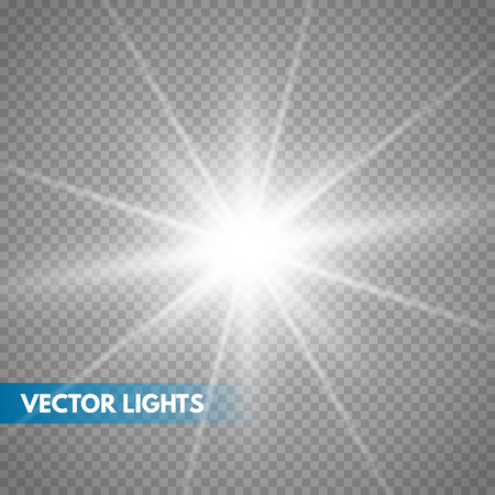 Glowing light effect on transparent background.Vector illustration