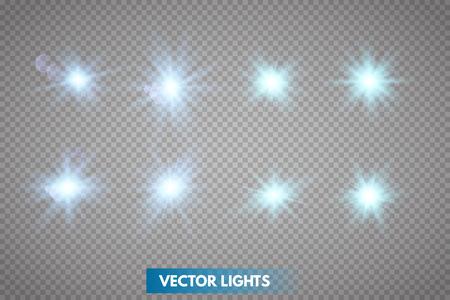 Conjunto de estrellas de luz brillantes con destellos. Efecto de luz. Ilustración de vector. Ilustración de vector