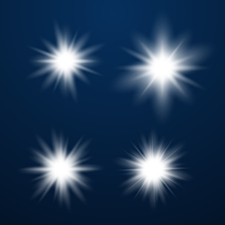 Set of Glowing Light Stars with Sparkles. Light effect. Vector Illustration.