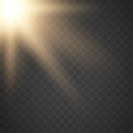 Lens flare light effect. Sun rays with beams . Vector illustration