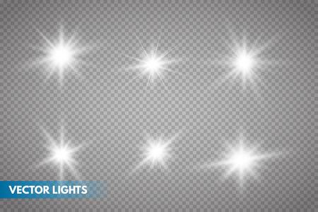 Set di stelle di luce incandescente con scintillii. Effetto luce. illustrazione vettoriale