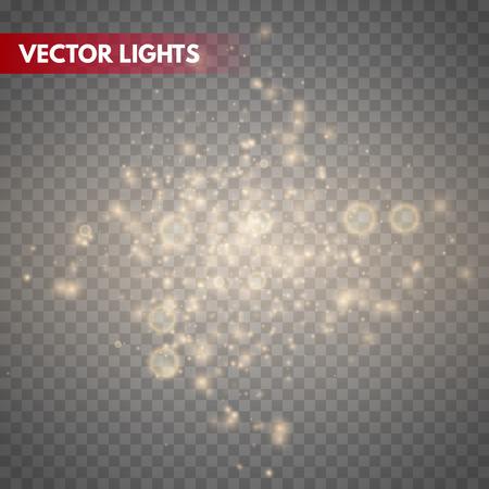 Glow light effect. Gold sparkle dust. Vector illustration. Christmas flash Concept. Illustration