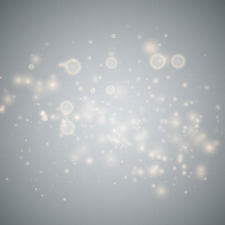 Effetto luce bagliore. Polvere scintillante d'oro. Illustrazione vettoriale. Concetto flash di Natale.