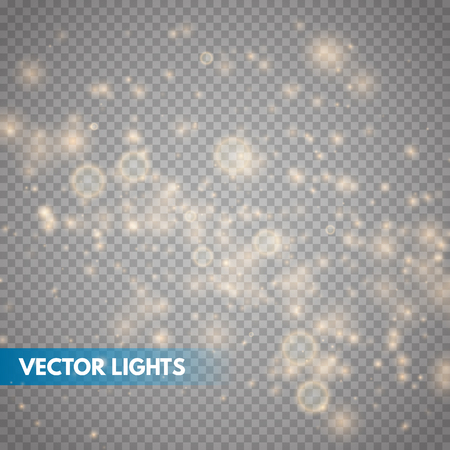 Glow light effect. Gold sparkle dust. Vector illustration. Christmas flash Concept. Ilustrace