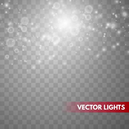 Effetto luce bagliore. Polvere scintillante. Lampo di Natale. Illustrazione vettoriale Vettoriali