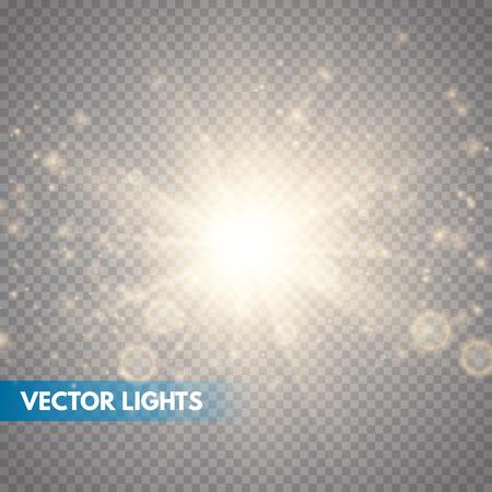 Estrellas de luz brillantes con destellos. Efecto de luz dorada. Ilustración vectorial Ilustración de vector