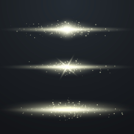 Glow special light effect, flare, star and spark Isolated. Vector lights Çizim