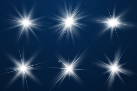 Set of Glowing Light Stars with Sparkles. Light effect. Vector Illustration