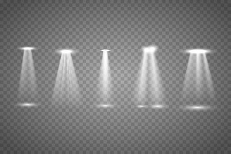 Vector Spotlights. Scene. Light Effects.The spotlight shines on the stage. Çizim