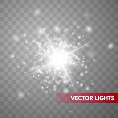 Glow light effect. Sparkle dust. Christmas flash. Vector illustration.EPS10