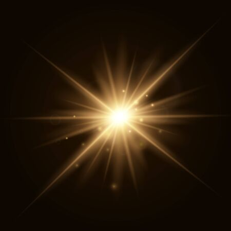 Star explosion vector illustration, glowing sun. Sunshine isolated on transparent background.